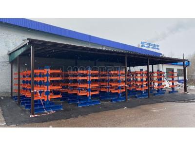 Установлены консольные стеллажи для уличного хранения металлопроката в г.Зеленоград